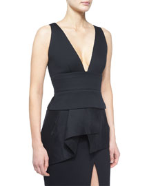 Sleeveless Plunge-Neck Peplum Top, Black