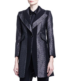 Paneled Zigzag Brocade Long Jacket