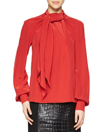 Bishop-Sleeve Scarf Blouse