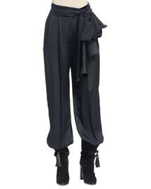 Full-Leg Pants with Waist-Tie, Black