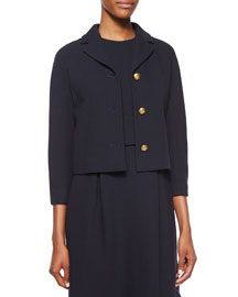 3/4-Sleeve Knot-Button Jacket, Navy