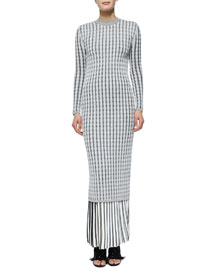 Long-Sleeve Cable-Knit Button-Back Dress