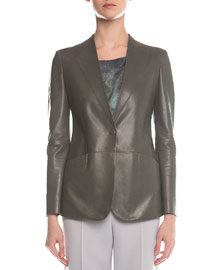 Faux-Lapel Plonge Leather Blazer, Gray