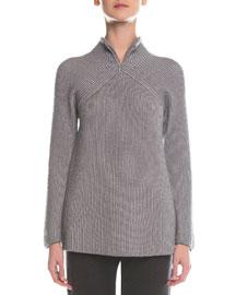 Split-Neck Ribbed Sweater, Light Gray