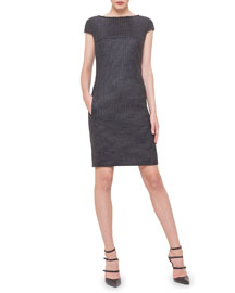 Chain-Trim V-Back Plaid Dress, Granite
