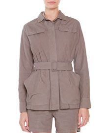 Cotton Belted-Front Jacket