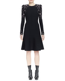 Long-Sleeve Knit Rose Jacquard Dress