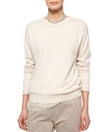 Chiffon-Trimmed Cashmere Jersey Tunic, Vanilla