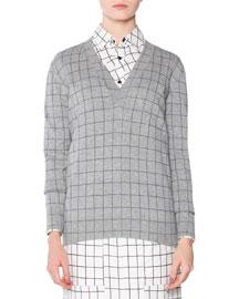 Cashmere Windowpane Check V-Neck Sweater