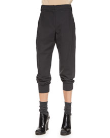 Wool Single-Pleat Cropped Pants