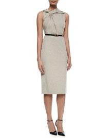 Twist-Front Sleeveless Dress w/Belt
