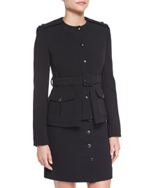Fitted Military Belted Jacket, Black