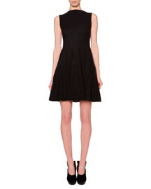 Godet-Pleated Fit-And-Flare Dress