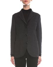 Felted Silk Boyfriend Three-Button Jacket