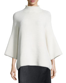 Argena Funnel-Neck Knit Sweater, Off White