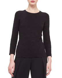 3/4-Sleeve Rose Jacquard Silk Top
