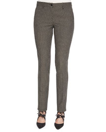 Medallion-Print Skinny Cropped Pants