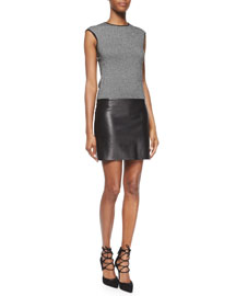 Cashmere & Leather Combo Dress