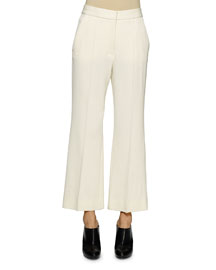 Flared Gabardine Ankle Pants, Mistletoe