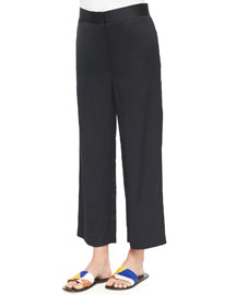 Straight-Leg Cropped Pants, Navy