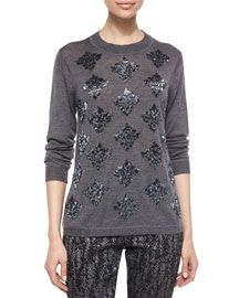 Long-Sleeve Beaded Sweater, Charcoal