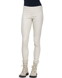 Side-Zip Stretch Leather Leggings