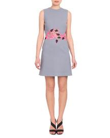 Sleeveless Lace-Waist Dress, Gray/Pink