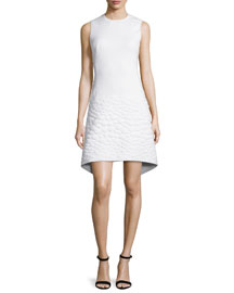 Sleeveless Neoprene Apron Dress, Off White