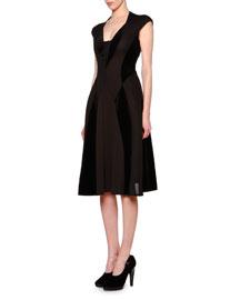 Cap-Sleeve Velvet-Inset Flare Dress