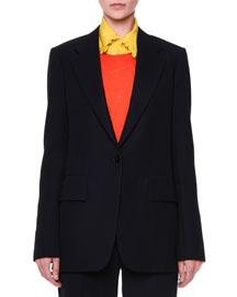 Slim One-Button Jacket, Navy
