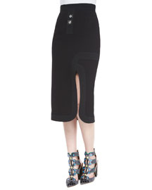 High-Waist Game Pieces Midi Skirt, Black