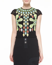 Cap-Sleeve Embroidered Tunic Blouse, Black
