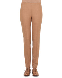 Melissa Stretch Flannel Pleated Slim Pants, Rye