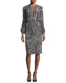Long-Sleeve Leopard-Print Silk Dress