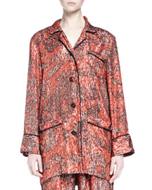 Long-Sleeve Metallic-Print Pajama-Inspired Top, Fire Red