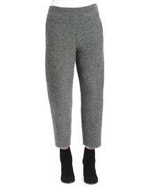 Melange-Knit Wide-Leg Ankle Pants