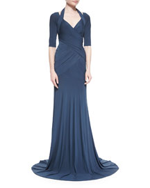 Cold-Shoulder Crossover Draped Gown