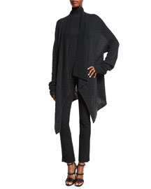 Long-Sleeve Draped-Front Cardigan, Charcoal