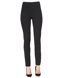 Ponte Side-Zip Pants, Black