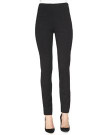 Ponte Side-Zip Pants, Black