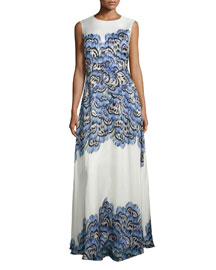 Sleeveless Feather-Print Silk Gown, Blue