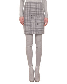 A Jour Plaid Pencil Skirt