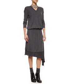 Asymmetric-Underlay Knit Dress