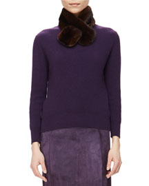 Ribbed Cashmere Sweater w/ Removable Fur Collar, Currant