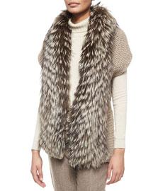 Fox Fur-Trimmed Knit Cardigan
