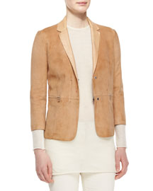 3/4-Sleeve Suede Jacket, Sugarcane