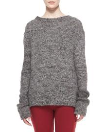 Long-Sleeve Alpaca Tweed Sweater, Gray