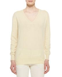 Long-Sleeve Cashmere Sweater, Lemon