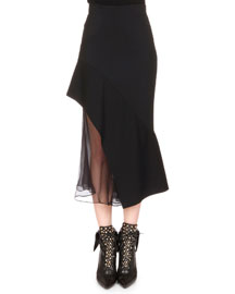 Chiffon-Inset Asymmetric Ruffled Skirt