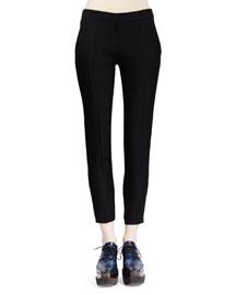 Slim-Leg Wool Twill Pants, Black